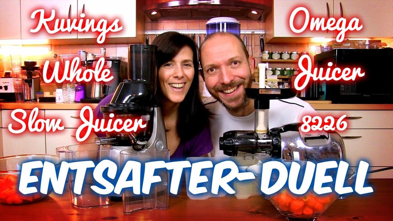 entsafter duell omega 8226 vs kuvings whole slow juicer vegan mit rohe energie. Black Bedroom Furniture Sets. Home Design Ideas